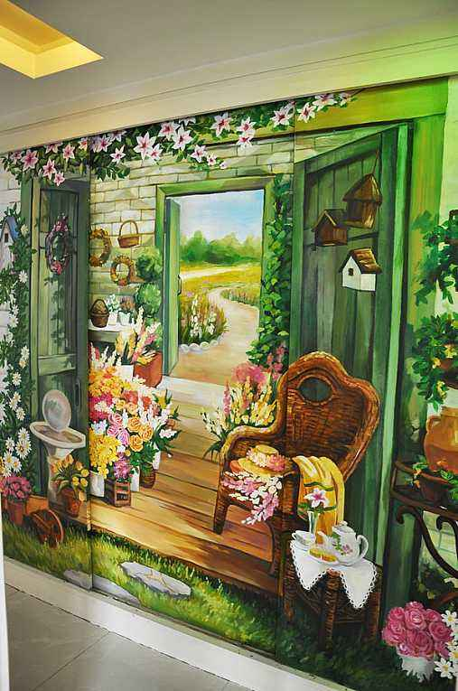 室内墙布的手绘表现